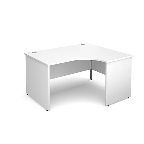 Maestro 25 PL right hand ergonomic desk 1400mm - white panel leg design