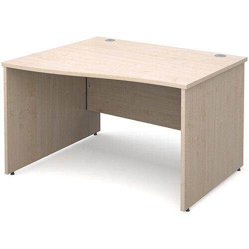 Maestro 25 PL left hand wave desk 1200mm - maple panel leg design