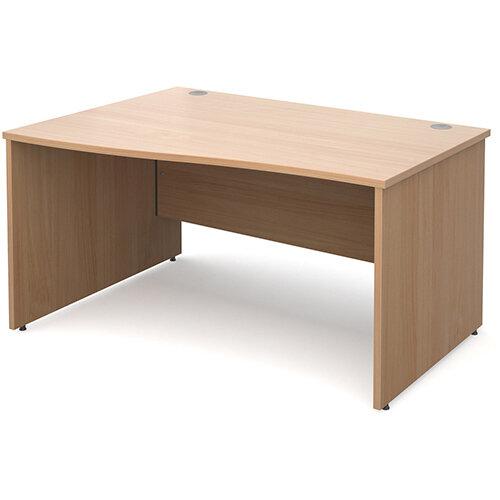 Maestro 25 PL left hand wave desk 1400mm - beech panel leg design