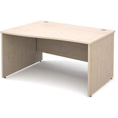 Maestro 25 PL left hand wave desk 1400mm - maple panel leg design