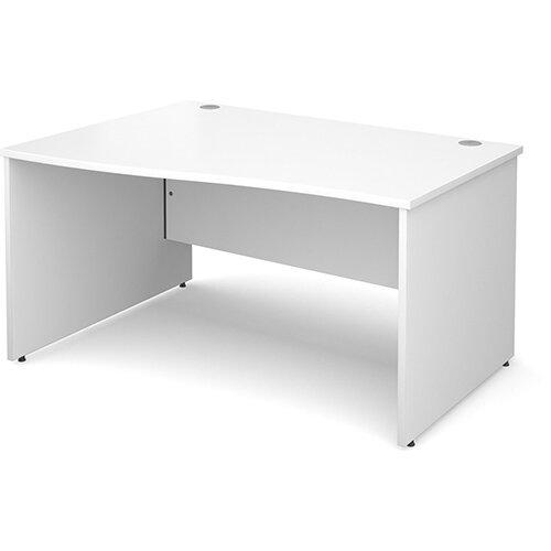 Maestro 25 PL left hand wave desk 1400mm - white panel leg design