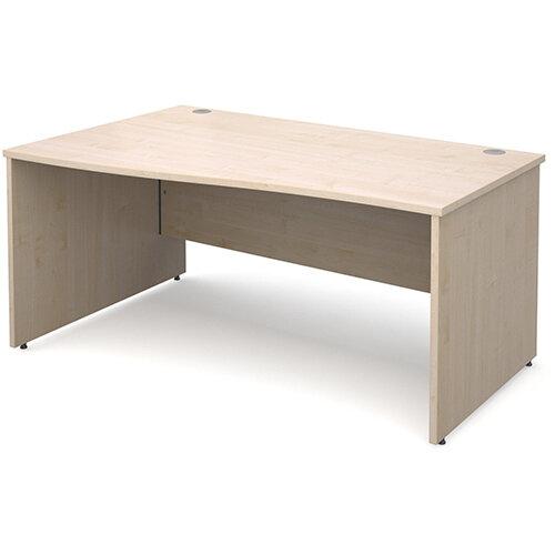 Maestro 25 PL left hand wave desk 1600mm - maple panel leg design