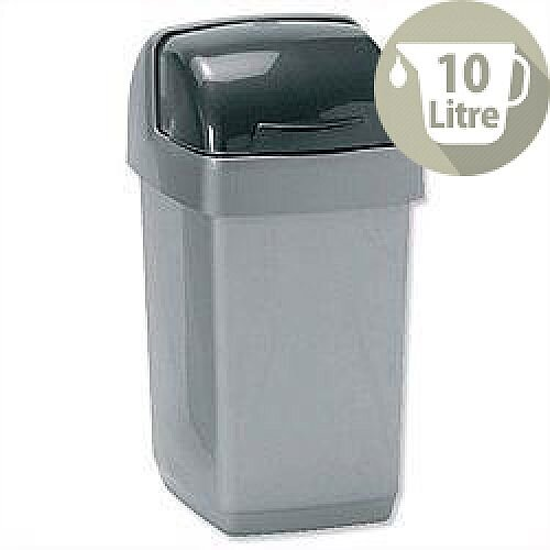 Addis Roll Top Plastic Waste Bin 10 Litres Metallic Grey 9573
