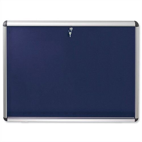Nobo A1 Display Cabinet Noticeboard Visual Insert Lockable Blue
