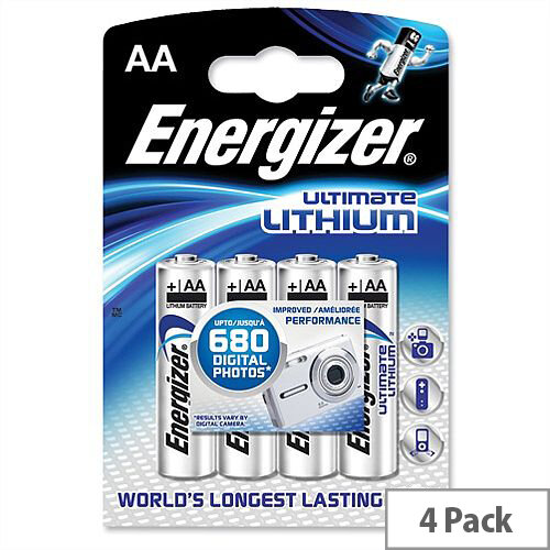 Energizer Ultimate AA Lithium Battery – 1.5 Volt, 4 Pack, Reliable, Wide Temperature Range, 15 Year Shelf Life, 33% Lighter, Cylindrical Size &5 Times Longer Than Similar Batteries (629611)