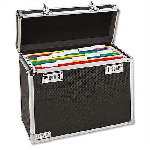 Leitz Vaultz Lockable Suspension File Case A4 Black and Chrome