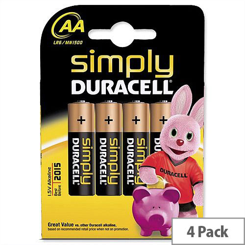Duracell Simply AA Alkaline Battery (4 Pack) 81235210