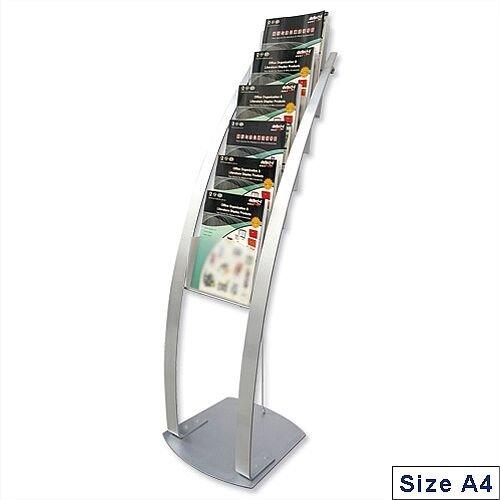 Deflecto Brochure Display Floor Stand 6 x A4 Pockets Silver