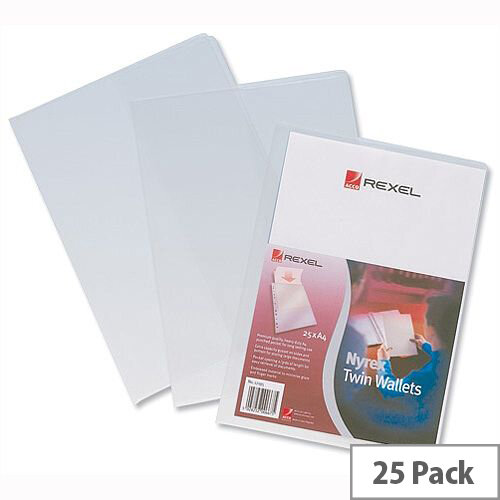 Rexel Nyrex Twin Wallet With 2 Inside Pockets A4 Clear Pack 25