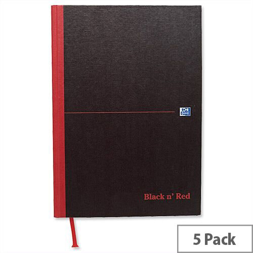 Black n Red A5 Note Book Recycled Casebound 192 Pages C67025 Pack 5