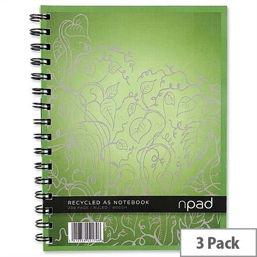 Oxford npad A5 Notebook Recycled Ruled 200 Pages Pack 3