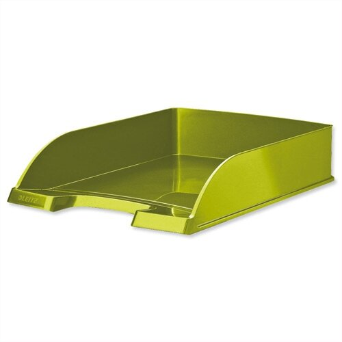 Leitz WOW Bright Letter Tray Stackable Glossy Metallic Green Pack 5