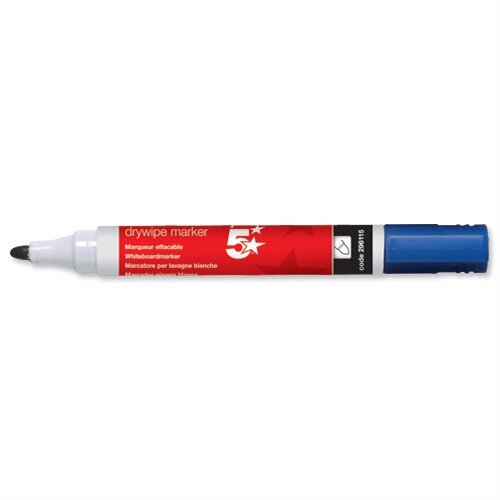 5 Star Blue Whiteboard Markers Bullet Tip Pack 12