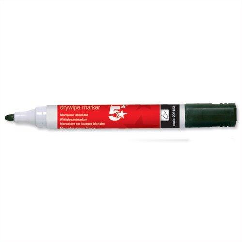 5 Star Black Drywipe Markers Bullet Tip Pack 12
