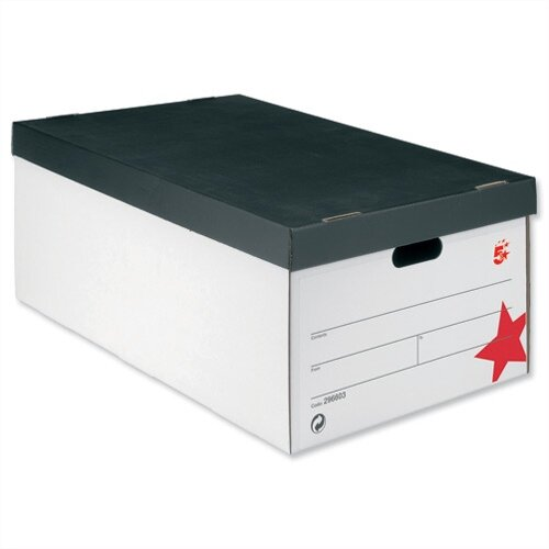 5 Star Jumbo Storage Box Black and White 412x715x276mm Pack of 5