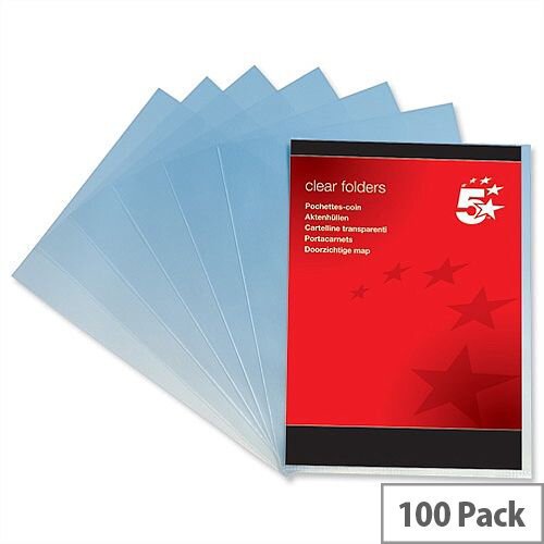 Plastic Cut Flush Folder A4 Clear Pack 100 5 Star