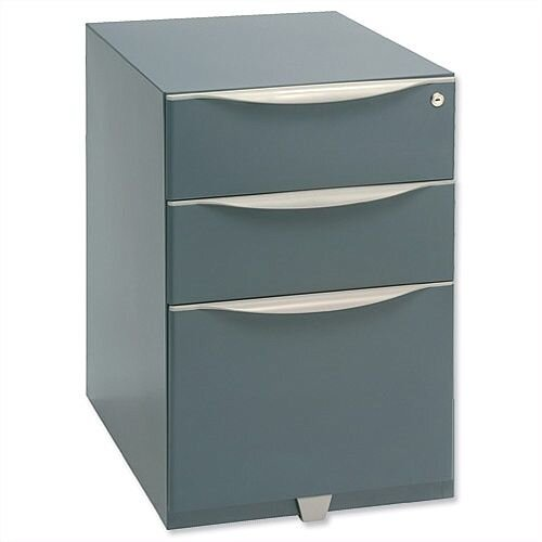 Bisley Wave Mobile Pedestal 2 Stationery &1 File Drawer 645H Grey WVA52MSSF-F4