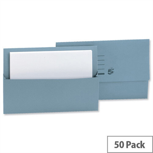 Document Wallets Half Flap Foolscap Blue Pack 50 5 Star