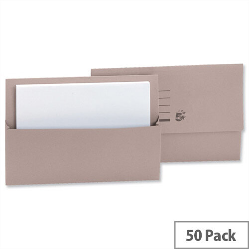Document Wallet Half Flap Foolscap Buff Pack 50 5 Star