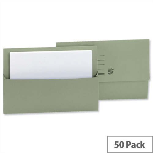 Document Wallet Half Flap Foolscap Green Pack 50 5 Star