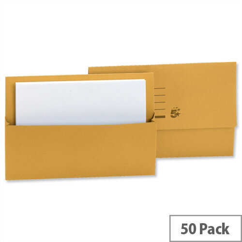 Document Wallet Half Flap Foolscap Yellow Pack 50 5 Star