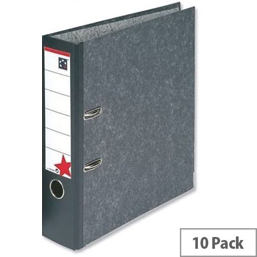Foolscap Lever Arch File Cloudy Grey 5 Star Pack 10 – 2 Rings, 500 to 600 Page Capacity, Reinforced Edge, Spine Label, Finger Pull Ring &Supports Foolscap Sheets (29748X)