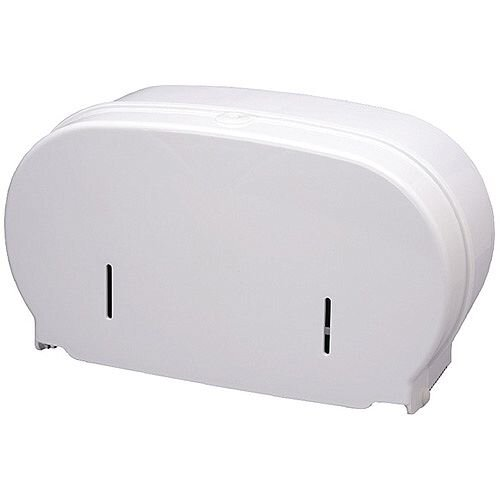 2Work Micro Twin Toilet Roll Plastic Dispenser White DIS840