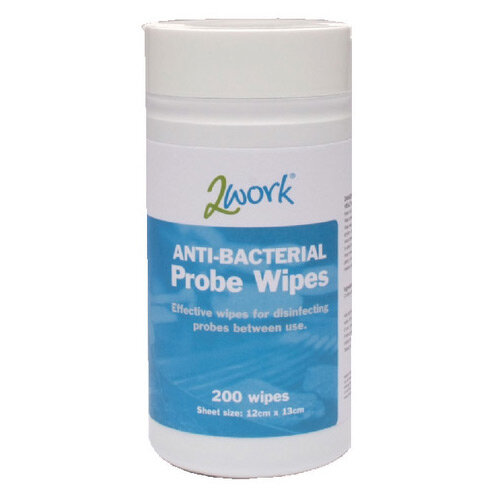 2Work Antibacterial Alcohol Probe Wipes Dispenser Tub Pack 1 (Contains of 200 Wipes) 2W24703