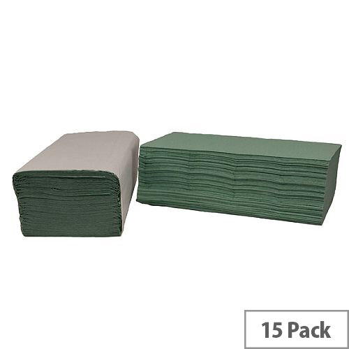 2Work Green I-Fold Paper Hand Towels 1-Ply 240 Towels Per Sleeve 15 Sleeves (3600 Sheets) HIG136