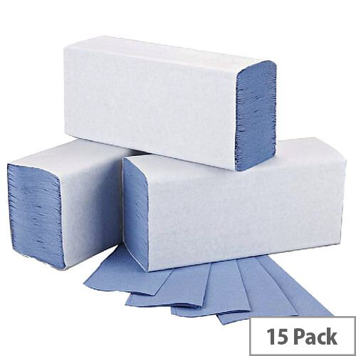 2Work Blue 1 Ply M-Fold Paper Hand Towel 242x240mm 15 Sleeves of 200 Towels (3000 Sheets) HT2317