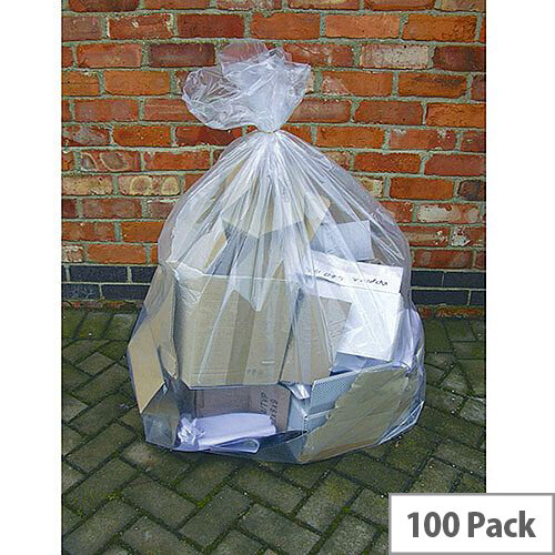 2Work Clear Wheelie Bin Liner 270 Litres Pack of 100. Made From 100% Recycled Material. These Bags Can Be Recycled Again After Use. Made From Polythene. Ideal In Any School, College, Office, Home &More.