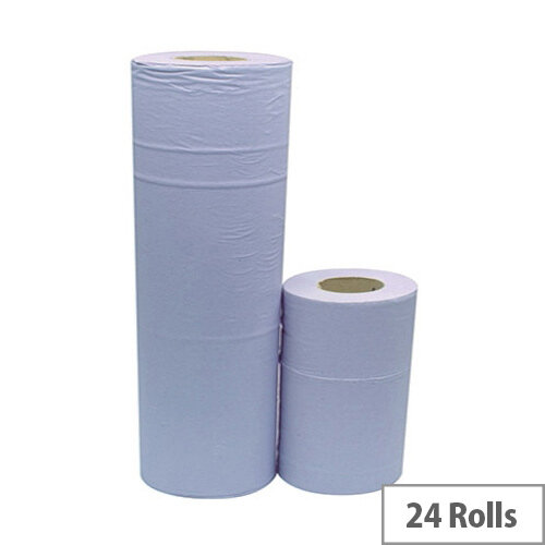 2Work Dispenser Hygiene Cleaning Paper Rolls 2 Ply Blue Rolls 10inch x 40m Pack of 24 HR2240