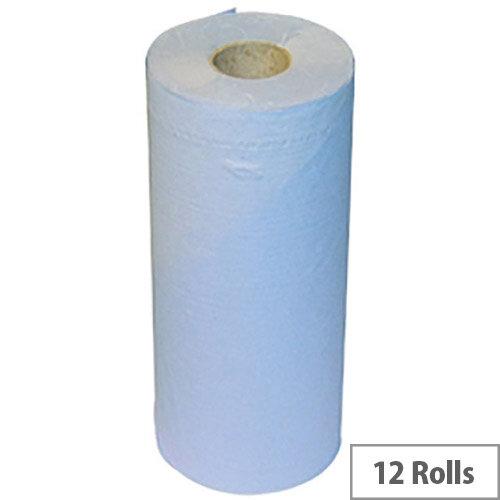 2Work Dispenser Hygiene Cleaning Paper Rolls 2-Ply Blue Rolls 20inch x 40m Pack of 12 HR2540