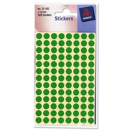 Avery Round Green Labels Diameter 8mm 10x560 Labels 32-302