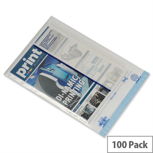Ampac 165x230mm Clear White Panel Light-Weight Polythene Envelopes Pack of 100
