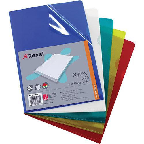 Rexel Nyrex Green Cut Flush Folder A4 Pack 25