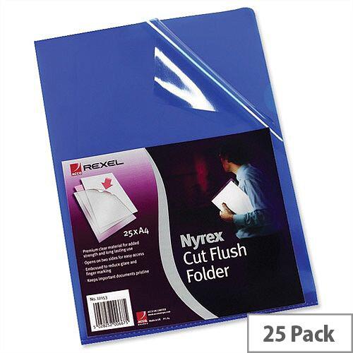 Rexel Nyrex Blue Cut Flush Folder A4 Pack 25