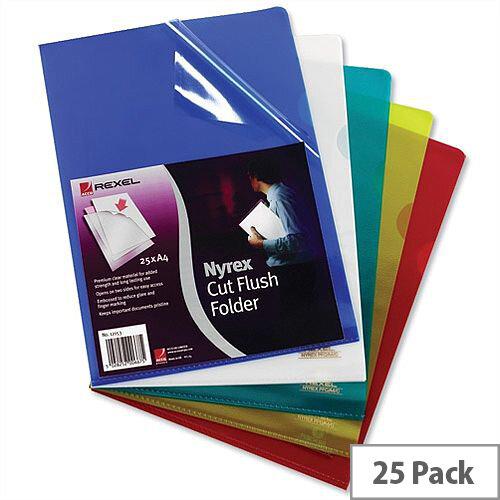 Rexel Nyrex Yellow Cut Flush Folder A4 12161YE Pack 25