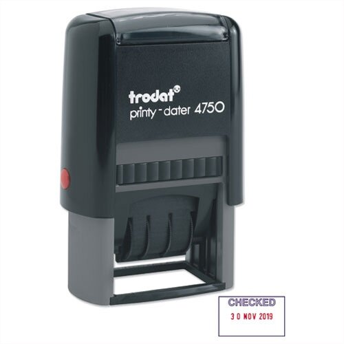 Trodat Eco Printy Checked Word and Date Stamp Self-Inking 40x24mm Red and Blue 54293