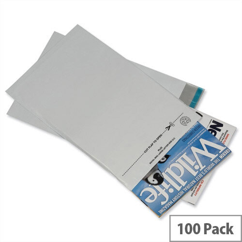GoSecure Lightweight 460x430mm Grey Polythene Protective Envelopes Pack of 100