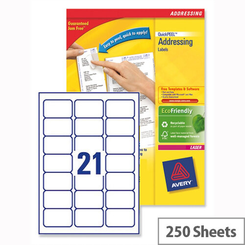 Avery L7160-250 Address Labels Laser 21 per Sheet 63.5x38.1mm White 5250 Labels