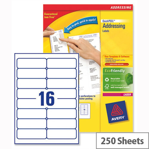 Avery L7162-250 Address Labels Laser 16 per Sheet 99.1x33.9mm White 4000 Labels