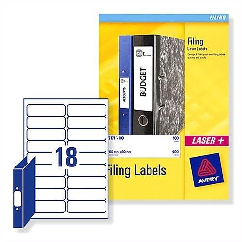 Avery Ring Binder Filing Labels Laser L7172-25 100x30mm 450 Labels