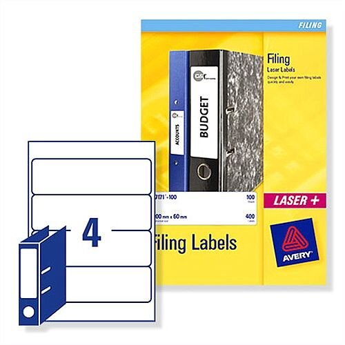 Avery L7171-25 Lever Arch Filing Labels 100 Labels