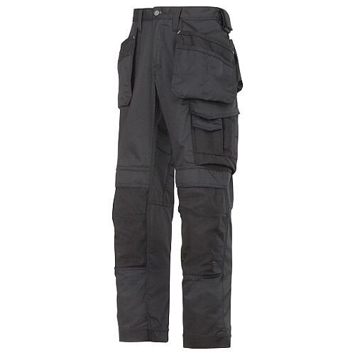 "Snickers 3211 Craftsmen CoolTwill Work Trousers with Holster Pockets Black Waist 47"" Inside leg 32"" WW1"