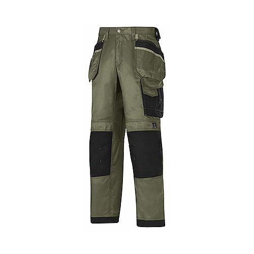 "Snickers 3212 Craftsmen 36""/35"" Holster Pocket Trousers DuraTwill Size 152 Olive Green/Black"