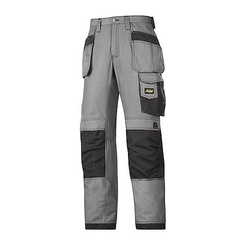 """Snickers 3213 Craftsmen Holster Pocket Trousers Rip-Stop 28""""/28"""" Grey/Black"""