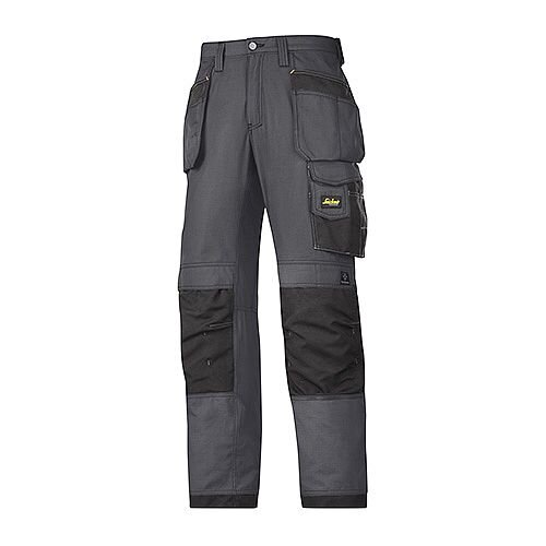 "Snickers 3213 Craftsmen Holster Pocket Trousers Rip-Stop Size 152 36""/35"" Steel Grey/Black"