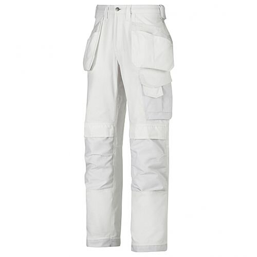 """Snickers 3214 Craftsmen Holster Pocket Trousers Canvas+ Size 160 44""""/35"""" White"""