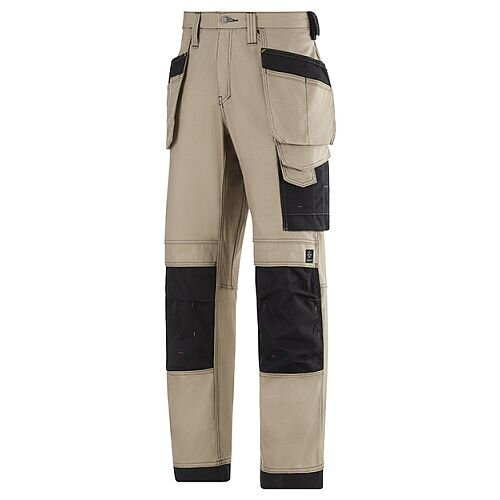 """Snickers 3214 Craftsmen Holster Pocket Trousers Canvas+ Size 192 33""""/28"""" Khaki/Black"""